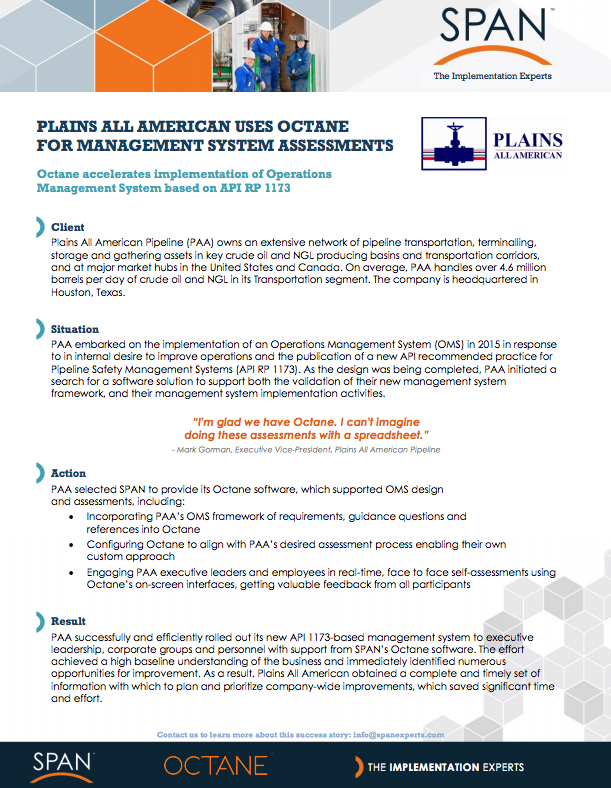 Case Study - Plains All American Uses Octane For Management System Assessments
